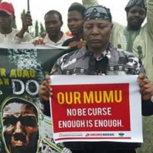 Area Fada leads Nigerians On Protest in Abuja Asking President Buhari To Resume or Resign