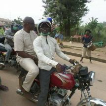 PHOTOS: Ekiti State Governor Rides On Okada to Inspect Projects