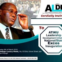 Atiku Leadership Development Initiative National Inauguration to Hold in Abuja